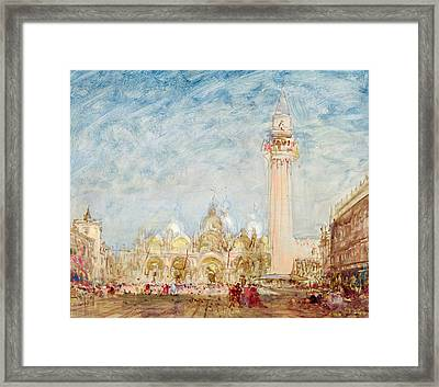 Saint Mark's Square In Venice Framed Print by Felix Ziem