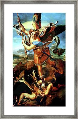 Saint Michael Overthrowing The Demon  Framed Print by Raphael