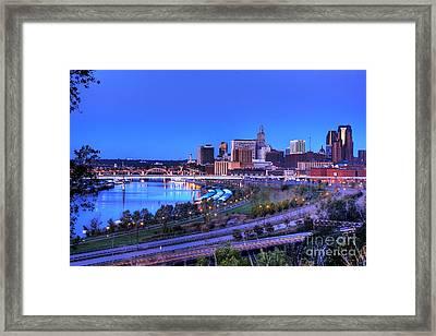 Saint Paul Minnesota Skyline Blue Morning Light Framed Print by Wayne Moran