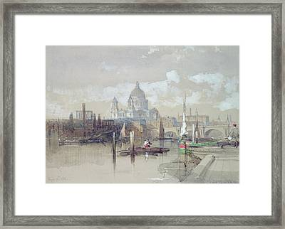 Saint Pauls From The River Framed Print by David Roberts