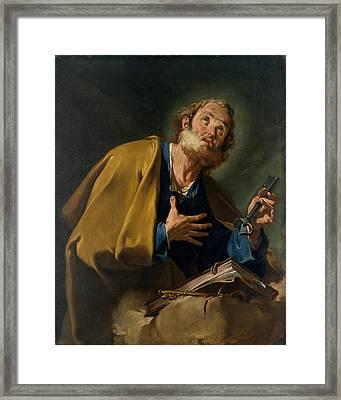 Saint Peter Framed Print by Giovanni Battista Pittoni