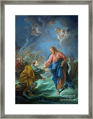 Saint Peter Invited To Walk On The Water Framed Print by Francois Boucher