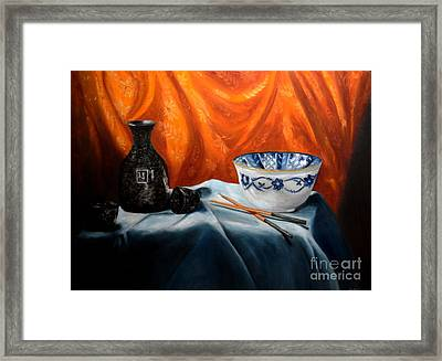 Sake And Orange Silk Framed Print by Mary Datum