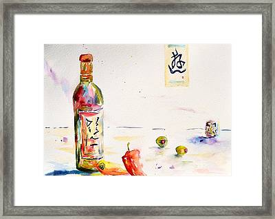 Sake Framed Print by Beverley Harper Tinsley