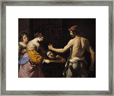 Salome Receiving The Head Of St John The Baptist Framed Print by Giovanni Francesco Barbieri