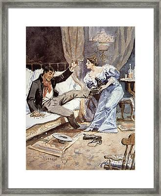 Saloon Girl With A Drunken Cowboy Framed Print by Charles Marion Russell