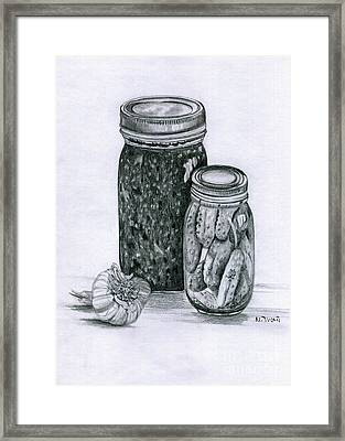 Salsa And Pickles Framed Print by Mary Tuomi