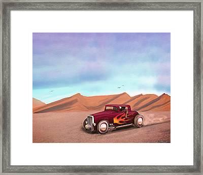 Salt Flats Racer Framed Print by Ken Morris