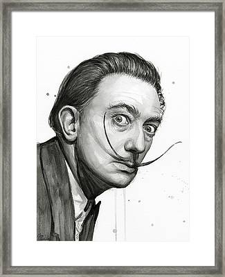 Salvador Dali Portrait Black And White Watercolor Framed Print by Olga Shvartsur