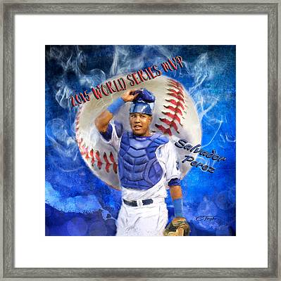 Salvador Perez 2015 World Series Mvp Framed Print by Colleen Taylor
