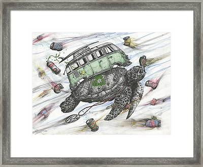 Salvaged In The Sea Of Debris Framed Print by Tai Taeoalii