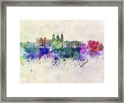 Salzburg Skyline In Watercolor Background Framed Print by Pablo Romero