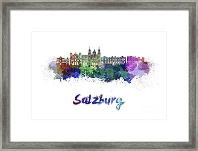 Salzburg Skyline In Watercolor Framed Print by Pablo Romero