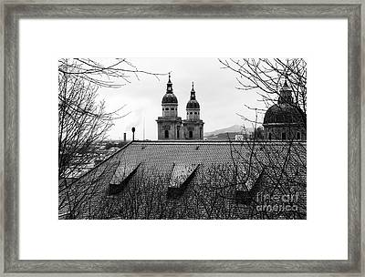 Salzburg Towers Through The Trees Framed Print by John Rizzuto