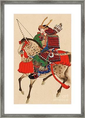 Samurai On Horseback Framed Print by Pg Reproductions