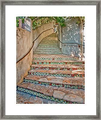 San Antonio Riverwalk Stairway Framed Print by David and Carol Kelly