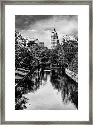 San Antonio Texas Downtown City Skyline On The Water - Black And White 2 Framed Print by Gregory Ballos