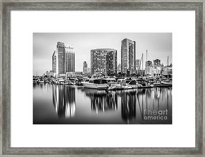 San Diego At Night Black And White Picture Framed Print by Paul Velgos