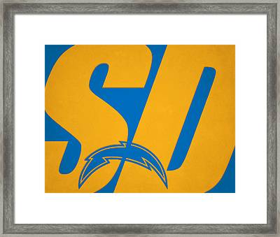 San Diego Chargers City Name Framed Print by Joe Hamilton