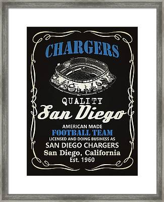 San Diego Chargers Whiskey Framed Print by Joe Hamilton