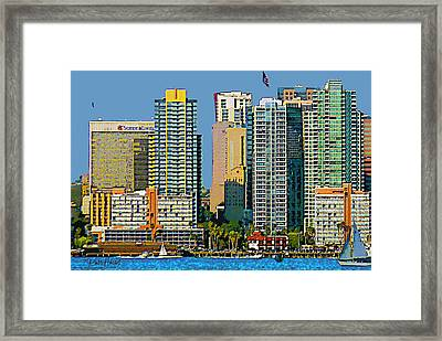 San Diego Downtown Living - Bayside Framed Print by Russ Harris