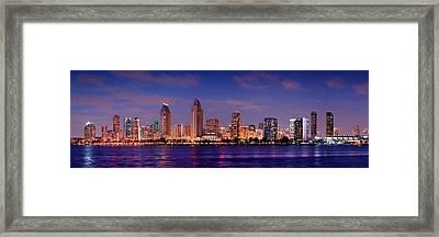 San Diego Skyline At Dusk Framed Print by Jon Holiday