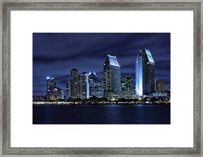 San Diego Skyline At Night Framed Print by Larry Marshall