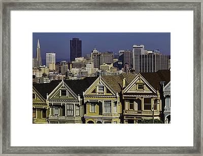 San Francisco And Victorian Houses Framed Print by Garry Gay