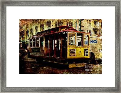 San Francisco Cable Car . Texture Framed Print by Wingsdomain Art and Photography