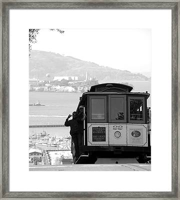 San Francisco Cable Car With Alcatraz Framed Print by Shane Kelly