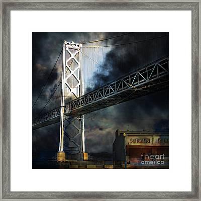San Francisco Nights At The Bay Bridge 7d7748 Square Framed Print by Wingsdomain Art and Photography