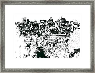 San Francisco North Beach - Ink Drawing Framed Print by Art America Online Gallery