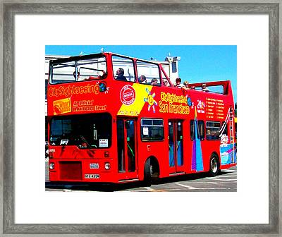 San Francisco Red Tour Bus Framed Print by Cj Carroll