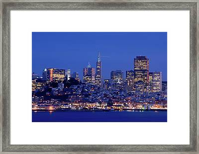 San Francisco Skyline At Dusk Framed Print by David Rout