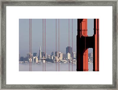 San Francisco Skyline From Golden Gate Bridge Framed Print by Mona T. Brooks