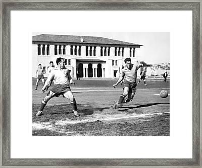 San Francisco Soccer Match Framed Print by Underwood Archives