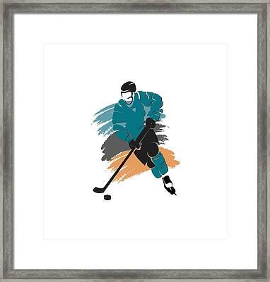 San Jose Sharks Player Shirt Framed Print by Joe Hamilton