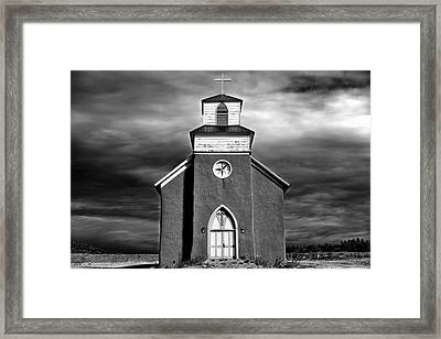 San Rafael Mission Church, La Cueva, New Mexico, Illiminated By  Framed Print by Mark Goebel
