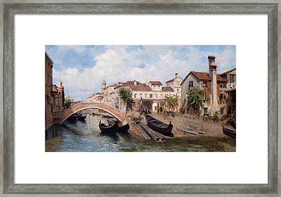 San Trovaso Boatyard In Venice Framed Print by Michele Gordigiani
