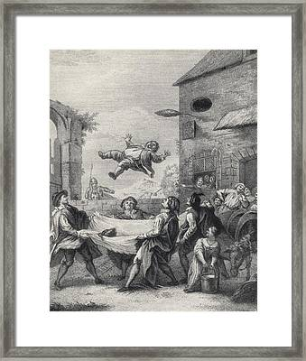 Sancho Panza Tossed In A Blanket By A Framed Print by Vintage Design Pics
