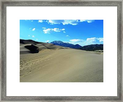 Sand And Mountains Framed Print by Peter  McIntosh