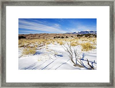 Sand And Snow Framed Print by Mike  Dawson