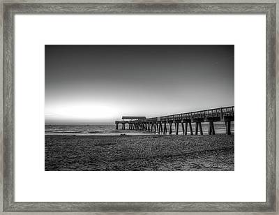 Sand Castles Tybee Island Pier Framed Print by Reid Callaway