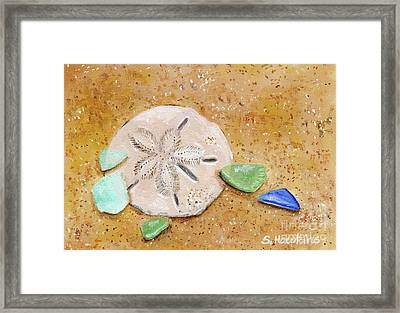 Sand Dollar And Beach Glass Framed Print by Sheryl Heatherly Hawkins