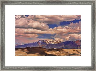 Sand Dunes - Mountains - Snow- Clouds And Shadows Framed Print by James BO  Insogna