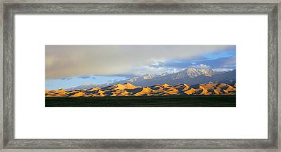 Sand Dunes In A Desert With A Mountain Framed Print by Panoramic Images