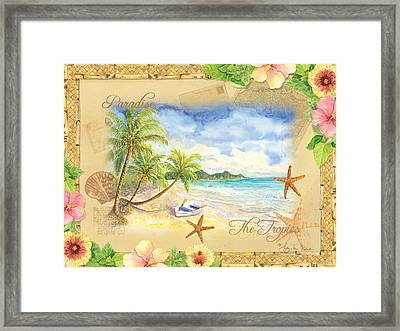 Sand Sea Sunshine On Tropical Beach Shores Framed Print by Audrey Jeanne Roberts
