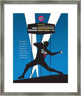 Sandy Koufax Perfect Game Framed Print by Ron Regalado