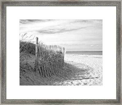 Sandy Neck Beach In Black And White Framed Print by Brooke Ryan