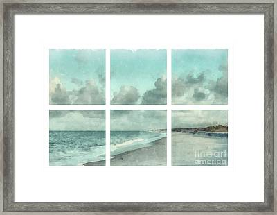 Sanibel Island Bowman Beach Watercolor Grid Framed Print by Edward Fielding